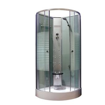 CABINA HIDROMASAJE SAMY 90X90 - CABINA HIDROMASAJE SAMY 90X90Cabina hidromasaje angular de 6 jets hidromasaje orientables, grifería monomando y teleducha. Mampara de cristal transparente de 5 mm, con pomos cromados, plato de ducha acrílico y paredes traseras de cristal. Repisa asidero y asiento.