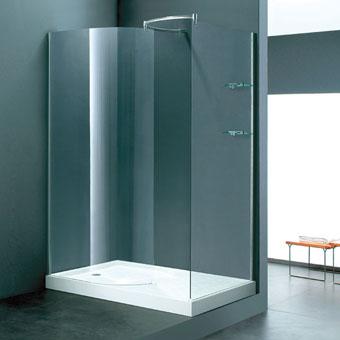 WALK-IN MAMPARA + PLATO 140X90 - WALK-IN MAMPARA + PLATO 140X90Mampara en cristal transparente de 6 mm con zona de ducha y zona de secado con 2 repisas. Plato de ducha acrílico de 140x90 cms.
