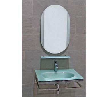MUEBLE BAÑO OVALO - MUEBLE BAÑO OVALOMueble de Baño de 70 cms de ancho por 46 cms de fondo con encimera lavabo de cristal acabado plata de 12 mm de grosor, toallero doble, sifón, valvula, repisa y espejo a juego.