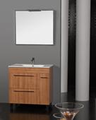 MUEBLE SEVILLA ROBLE 80 CM - MUEBLE SEVILLA ROBLE;en color roble;con dos puertas abatible y un cajón, con lavabo integral de 80 cm disponible en diferentes acabados y colores, patas cromadas. Espejo enmarcado y aplique halógeno.;MEDIDAS:;Espejo:80(ancho)x70(alto)cm;Mueble+lavabo: 81(ancho)x46(fondo)x83(alto)cm;Grifería no incluida.;