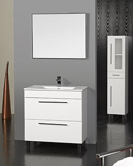 MUEBLE HUELVA BLANCO 80 CM - MUEBLE DE BAÑO HUELVA BLANCO;Lacado en blanco con una puerta y un cajón, con lavabo integral de 80 cm disponible en diferentes acabados y colores, patas cromadas. Espejo con marco cromado y aplique halógeno.;MEDIDAS:;Espejo:80(ancho)x70(alto)cm;Mueble+lavabo: 81(ancho)x46(fondo)x83(alto)cm;Grifería no incluida.;