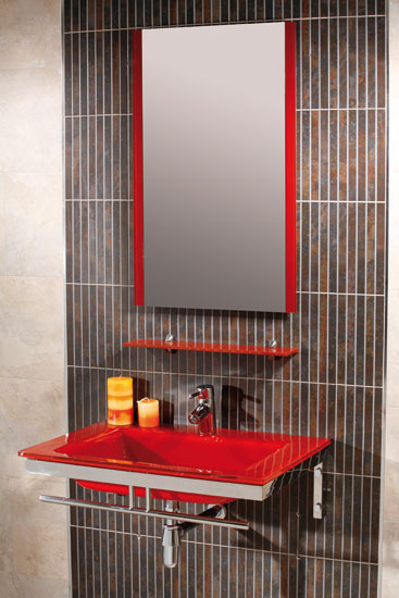 Juegos De Baño Rojos:ROJO – MUEBLE DE BAÑO;con encimera-lavabo de cristal en color rojo de