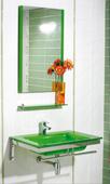 MUEBLE MARE VERDE - MUEBLE DE BAÑO;con encimera-lavabo de cristal en color verde de 14 mm de espesor, con soportes cromados, sifón, válvula repisa superior, toallero frontal y espejo decorado a juego.;MEDIDAS:;Espejo:50(ancho)x80(alto) cm;Lavabo:70(ancho)x50(fondo)x14(alto) cm;Grifería no incluida