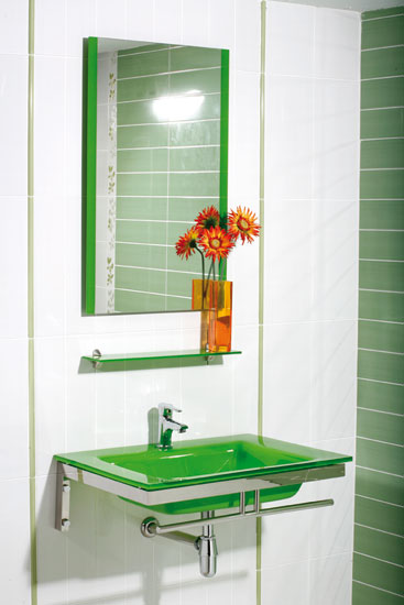 Juegos De Baño Verde:DE BAÑO;con encimera-lavabo de cristal en color verde de 14 mm de