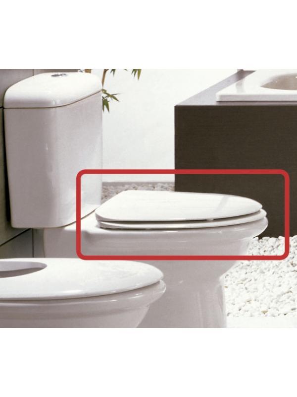 ASIENTO FIJO INODORO LARA BLANCO COMPATIBLE - TAPA WC LARA BLANCO BELLAVISTA. Repuesto COMPATIBLE de madera lacada en blanco. El original está descatalogado por la marca y ya no se fabrica.