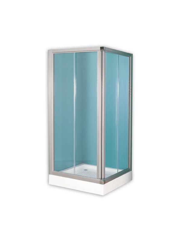 MAMPARA AFRODITA - MAMPARA CUADRADACon perfil de aluminio plata mate, con cristal transparente de 6 mm sin perfilería intermedia.;MEDIDAS: 90x90 cm;