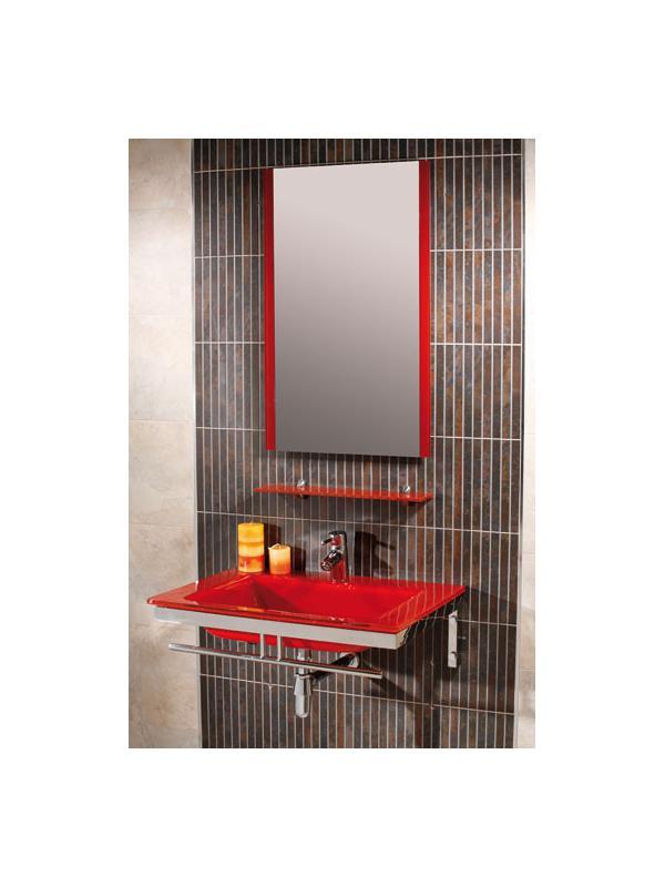 MUEBLE MARE ROJO - MUEBLE DE BAÑO;con encimera-lavabo de cristal en color rojo de 14 mm de espesor, con soportes cromados, sifón, válvula repisa superior, toallero frontal y espejo decorado a juego.;MEDIDAS:;Espejo:50(ancho)x80(alto) cm;Lavabo:70(ancho)x50(fondo)x14(alto) cm;Grifería no incluida